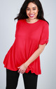 Oversized T-Shirt with Turn Up Sleeves in Red by Oops Fashion
