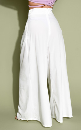 Wide leg high waisted palazzo trousers white by LILY LULU FASHION