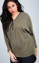 Long Sleeve Batwing Top with Zip in Khaki by Oops Fashion