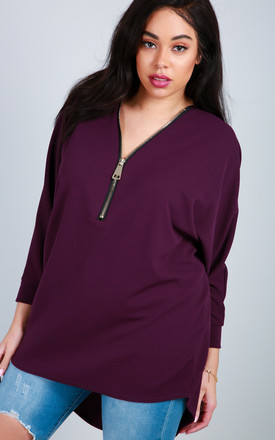 Long Sleeve Batwing Top with Zip in Purple by Oops Fashion