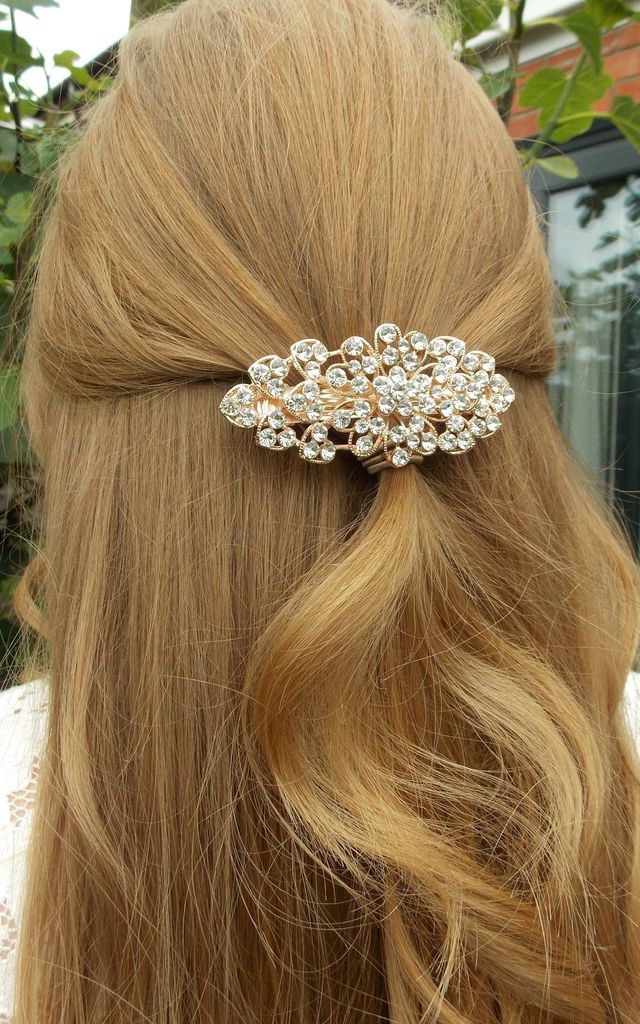 Bridal Hair Slide Barrette in Rose Gold and Crystal by Olivia Divine Jewellery