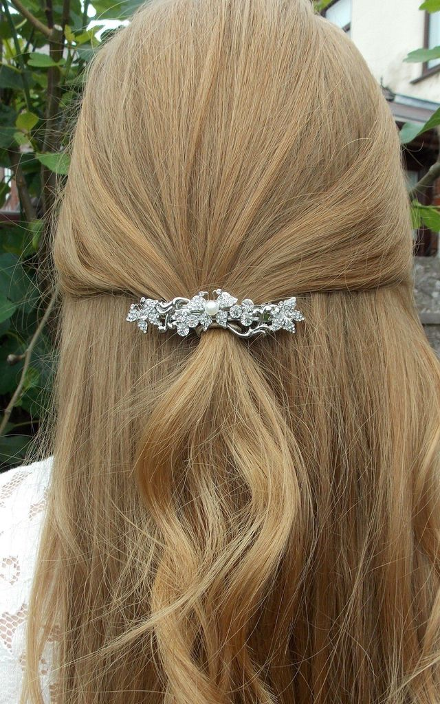 Mini Bridal Hair Slide Barrette with Silver Crystals and Pearls by Olivia Divine Jewellery