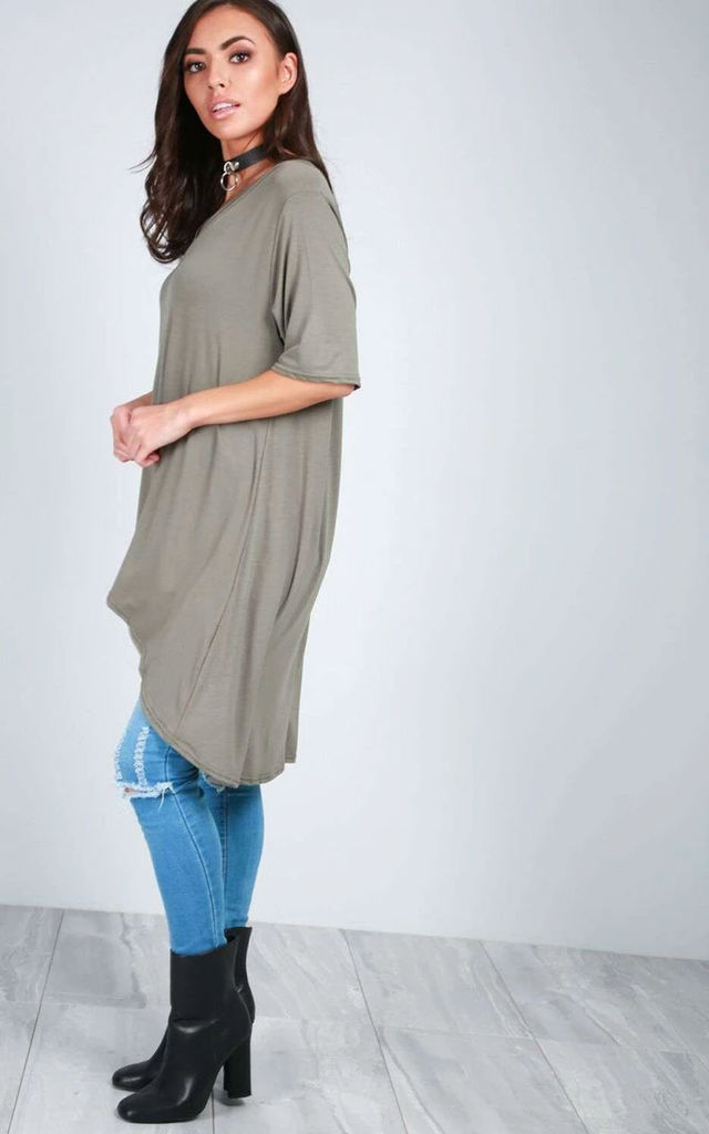 Oversized T-shirt with Dipped Hem in Khaki by Oops Fashion