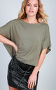 Oversized Cropped T-shirt in Khaki Green by Oops Fashion
