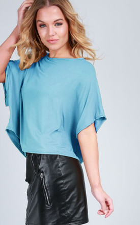 Oversized Cropped T-shirt in Turquoise by Oops Fashion