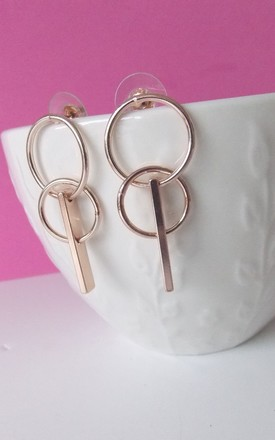 Rose Gold Mini Geometric Circle Earrings by Olivia Divine Jewellery Product photo