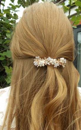 Bridal Hair Slide Barrette with Rose Gold Crystals and Pearl Vine by Olivia Divine Jewellery