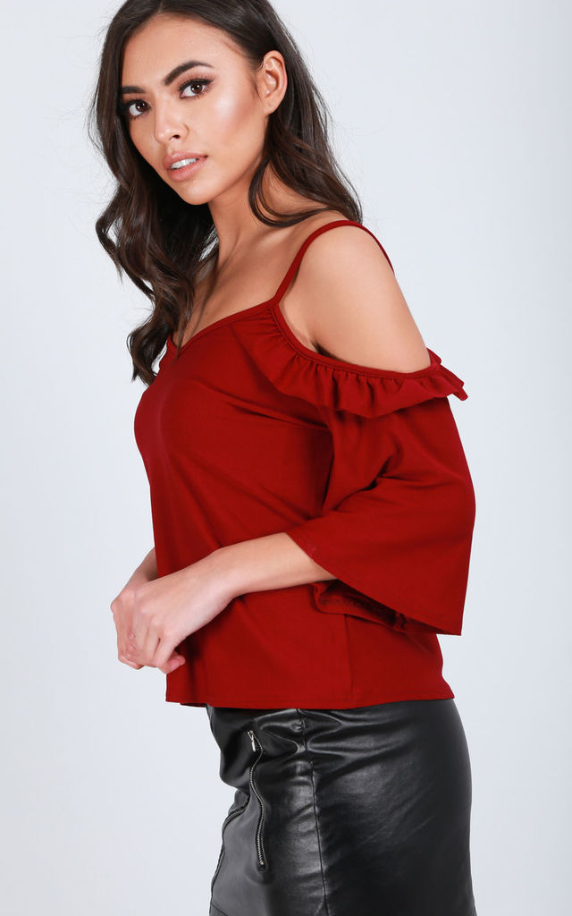 Wine Red  Frilly Cold Shoulder Cami Top with Flute Sleeves by Oops Fashion