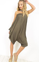 Strapless Hareem Cropped Playsuit in Khaki by Oops Fashion