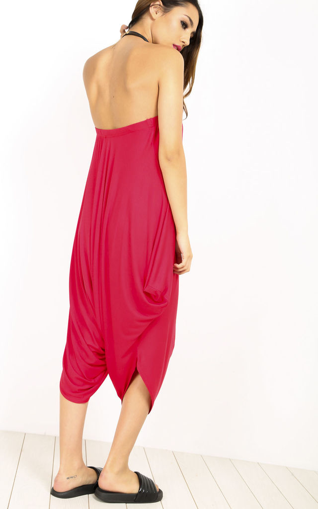 Strapless Hareem Cropped Playsuit in Red by Oops Fashion
