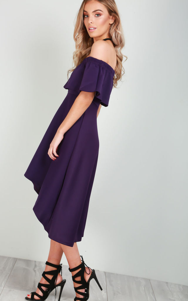 Off Shoulder Dipped Hem Midi Dress in Purple by Oops Fashion