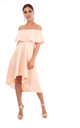 Off Shoulder Dipped Hem Midi Dress in Nude by Oops Fashion