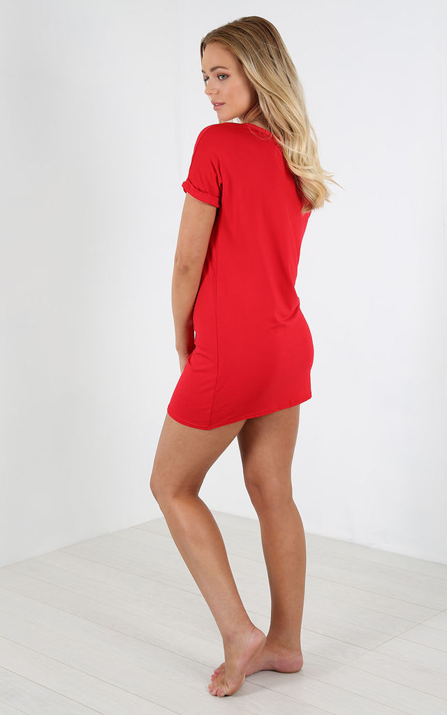 Red Slogan Print Night Dress by Oops Fashion