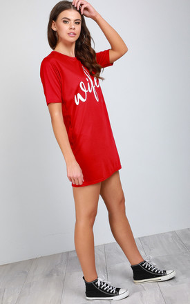 Red 'Wifey' Slogan Print Night Dress by Oops Fashion