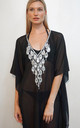black mesh Kaftan with Teardrop Crystal detailing by Trillion London
