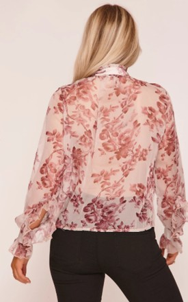 Rose Floral Print Pussy Bow Blouse by Hachu