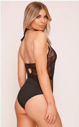 Black Sheer High Neck Lace Bodysuit by Hachu