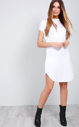Meana White Mini Tshirt Dress with Turned Up Sleeves by Oops Fashion