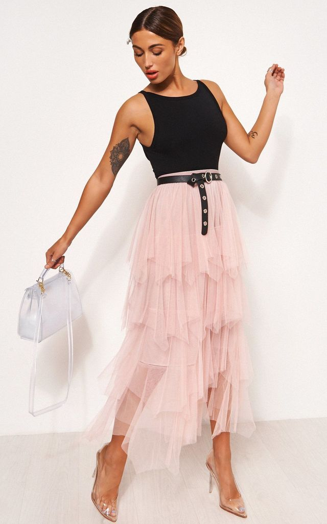 PINK TULLE OVERLAY LAYERED MAXI SKIRT by The Fashion Bible