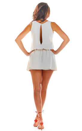 Sleeveless Playsuit with Skirt Overlay in Beige by AWAMA