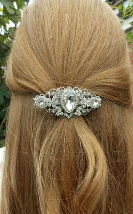 Silver Jewelled Bridal Hair Slide Barrette by Olivia Divine Jewellery