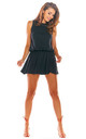 Sleeveless Playsuit with Skirt Overlay in Black by AWAMA