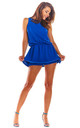 Sleeveless Playsuit with Skirt Overlay in Blue by AWAMA