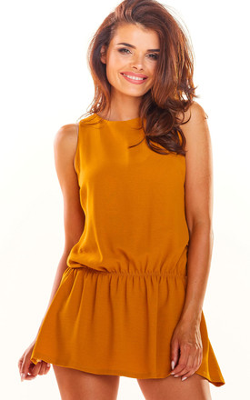 Sleeveless Playsuit with Skirt Overlay in Yellow by AWAMA
