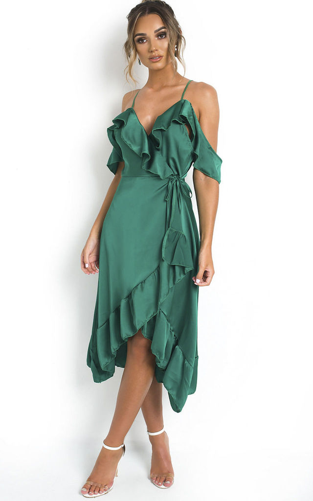 Clara Cold Shoulder Frill Satin Wrap Midi Dress in Green by IKRUSH