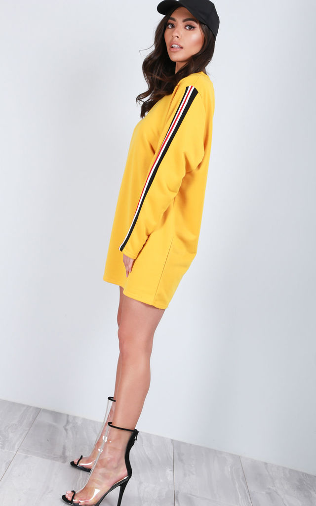 Oversized Mini Jumper Dress with Stripes in Yellow by Oops Fashion