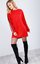 Red Oversized Mini Jumper Dress with Stripes by Oops Fashion