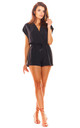 Short Sleeve Playsuit with Wrap Front in Black by AWAMA