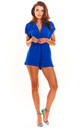 Short Sleeve Playsuit with Wrap Front in Blue by AWAMA