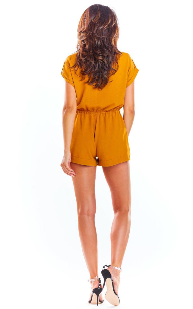 Short Sleeve Playsuit with Wrap Front in Yellow by AWAMA