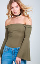 Flare Sleeve Off Shoulder Bodysuit in Khaki by Oops Fashion