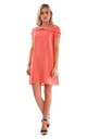 Cold Shoulder A-line Mini Dress in Coral by Oops Fashion