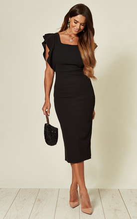 Jayne Black Frill Sleeve Midi Dress With Square Neck by WalG Product photo