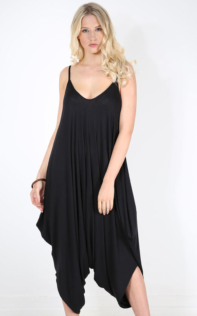 Strappy Draped Harem Jumpsuit In Black by Oops Fashion