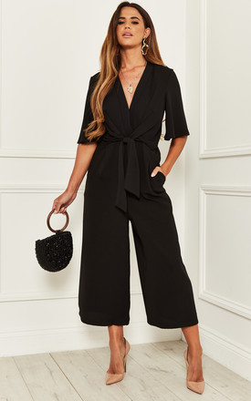 Exclusive Kimono Knot Top Culotte Jumpsuit In Black by Bella and Blue Product photo