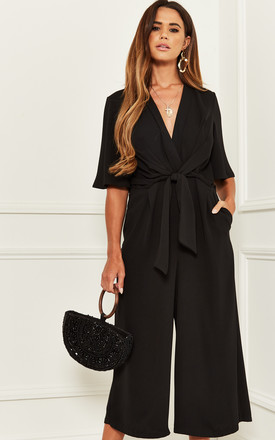 Exclusive Kimono Knot Top Culotte Jumpsuit in Black by Bella and Blue