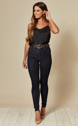 Dark Blue Denim High Waist Skinny Jean by Pieces