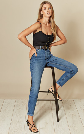 Medium Blue Cropped Mid Rise Denim Jean by Pieces Product photo
