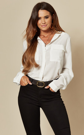 Oversized Pocket Shirt In White by VILA Product photo