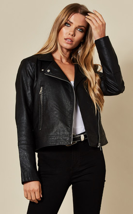 Black Faux Leather Cropped Biker Jacket by JDY Product photo