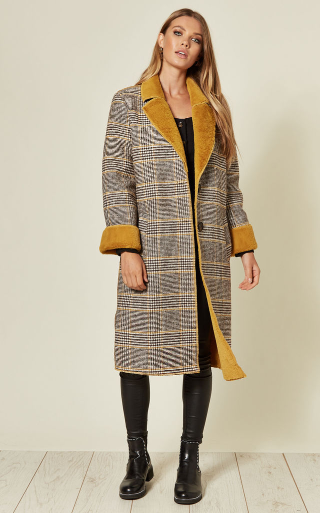 Checked Coat with Mustard Faux Fur Trim by Liquorish