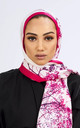 Premium Crepe Scarf in White & Fuchsia Print by Diamantine