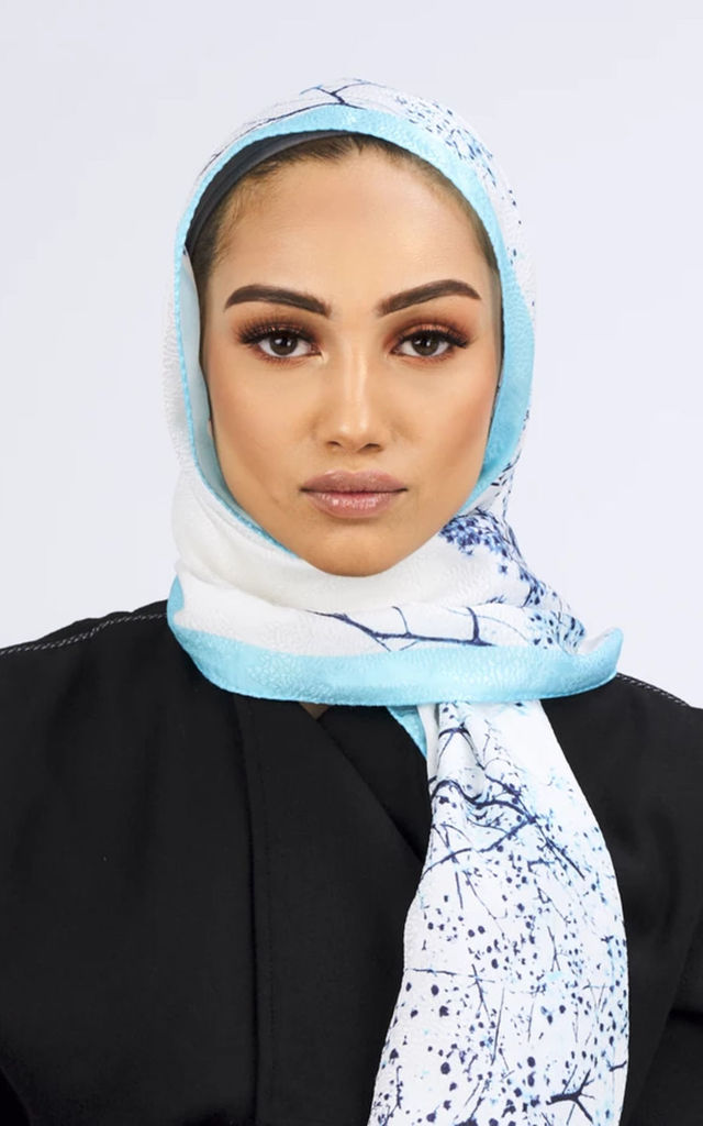 Premium Crepe Scarf in White & Turquoise Print by Diamantine