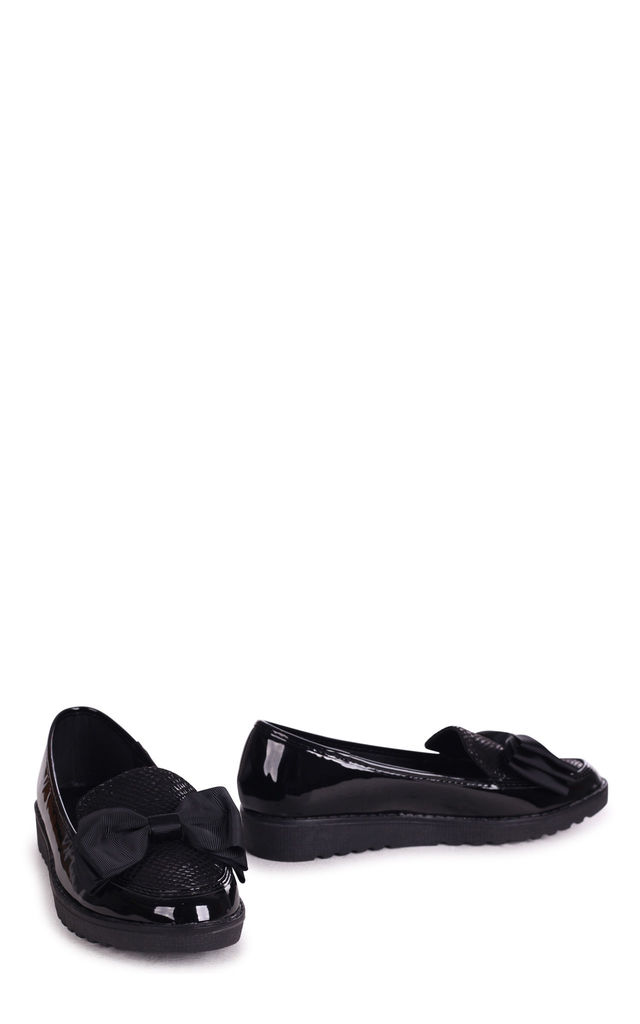 Vivian Chunky Slip On Shoes in Black Lizard & Patent by Linzi