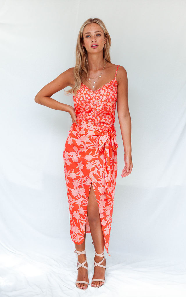 BEAU ORANGE FLORAL PRINT WRAP MIDI SKIRT by Style Cheat