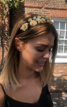 Black And Gold Floral Headband by House Of Queens